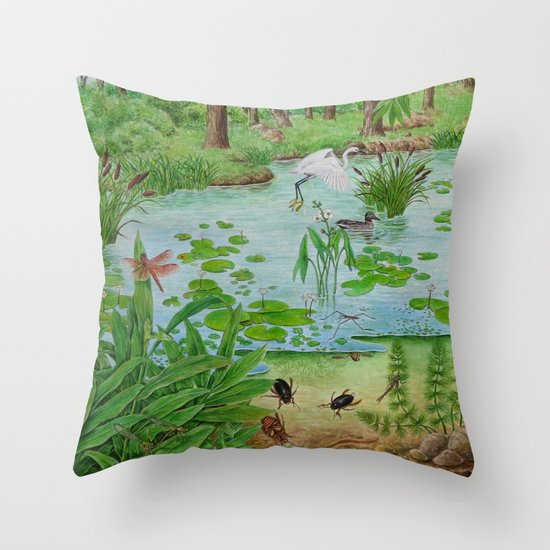 A Day of Forest (4). (the lake ecosystem) Throw Pillow