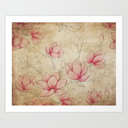 Vintage Shabby Pink Magnolia on Antique White Art Print