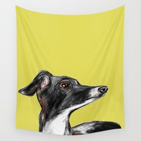 greyhound Wall Tapestries featuring Greyhound by James Peart