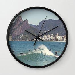 Surfing on Ipanema Beach Wall Clock