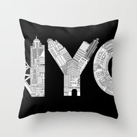 nyc Throw Pillows featuring NYC  by Robert Farkas
