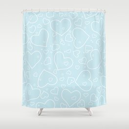 Palest Blue and White Hand Drawn Hearts Pattern Shower Curtain