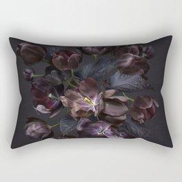 Black tulips on dark background Rectangular Pillow