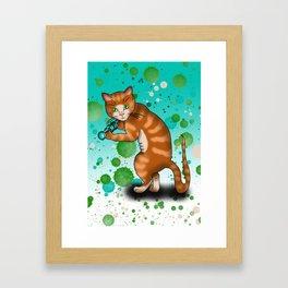 Cartoon ginger cat weights workout Framed Art Print