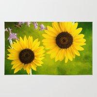 sunflowers Area & Throw Rugs featuring Sunflowers.  by LudaNayvelt