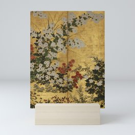 White Red Chrysanthemums Floral Japanese Gold Screen Mini Art Print