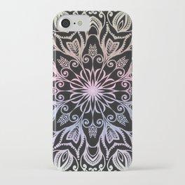 Coloring on the dark bacground hand drawn mandala iPhone Case