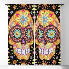 Sugar Skull Art by Thaneeya McArdle - Viva Blackout Curtain