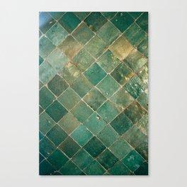 Green Moroccan Pattern Tile Canvas Print
