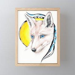 Foxy Sun Stippling Ink Art Framed Mini Art Print