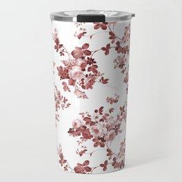 Shabby vintage coral burgundy brown roses floral Travel Mug
