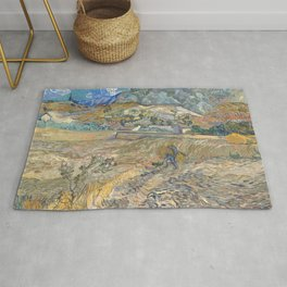 Enclosed Field with Peasant by Vincent van Gogh, 1889 Rug