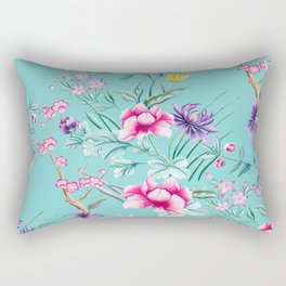 Chinoiserie Decorative Floral Motif Pale Turquoise Rectangular Pillow
