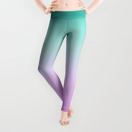 Ombre Pastel Mint Pink Ultra Violet Blurred Gradient Minimal Pattern Leggings