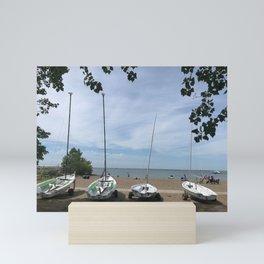 """Small Sails On Fairport Harbor Beach"" Photography by Willowcatdesigns Mini Art Print"