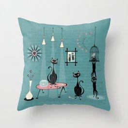 Mid Century Kitty Mischief - ©studioxtine Throw Pillow