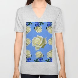 WHITE ROSES BLUE GARDEN DESIGN Unisex V-Neck