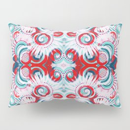 Happy Swirls in Red and Teal Pillow Sham