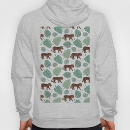 Botanical green tiger garden with monstera and palm leaves illustrated pattern Hoody