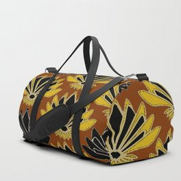 ART DECO YELLOW BLACK COFFEE BROWN AGAVE ABSTRACT Duffle Bag
