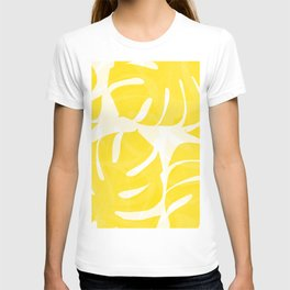 Mellow Yellow Monstera Leaves White Background #decor #society6 #buyart T-shirt