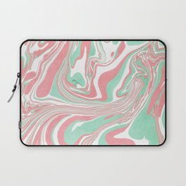 Elegant pink green abstract watercolor marble Laptop Sleeve