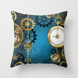 Turquoise Background with Gears ( Steampunk ) Throw Pillow