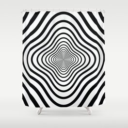 op art - black and white twisty tunnel Shower Curtain