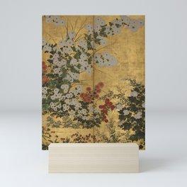 Red White Chrysanthemums Vintage Floral Japanese Gold Leaf Screen Mini Art Print