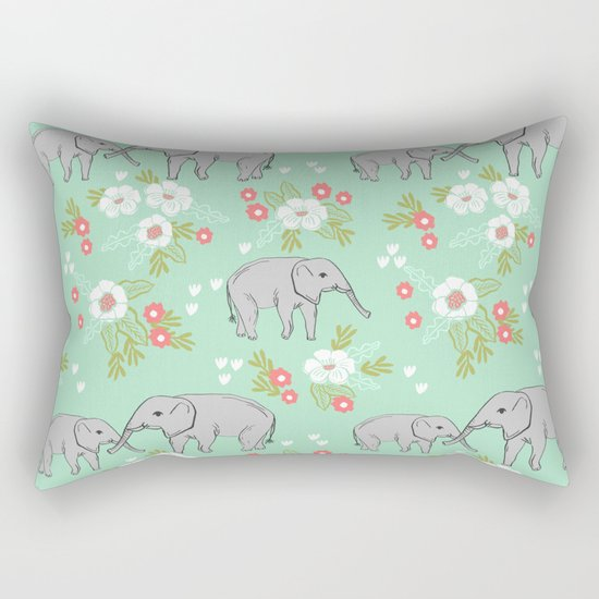 Elephants pattern mint blue with florals cute nursery baby animals lucky gifts Rectangular Pillow