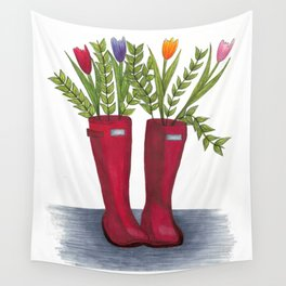 Red rain boots Wall Tapestry