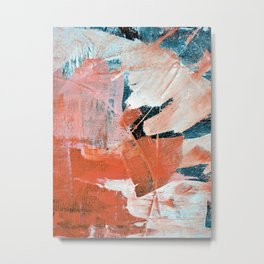Interrupt [3]: a pretty minimal abstract acrylic piece in pink white and blue by Alyssa Hamilton Art Metal Print