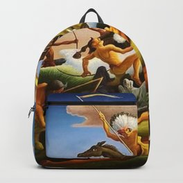 Classical Masterpiece 'Little Big Horn - Custer's Last Stand' by Thomas Hart Benton Backpack