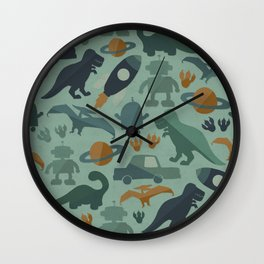 Little Boy Retro Fun Print, Robots, Dinosaurs, Cars and Rocket Ships, Minimalist Retro, Blue Wall Clock