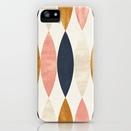 Colorful Pastel Geometric Scale Pattern Pink Navy Gold Art Deco iPhone Case
