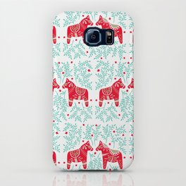Swedish Dala Horses – Red & Mint Palette iPhone Case