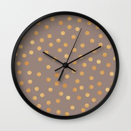 Rose gold polka dots - mocha golden Wall Clock