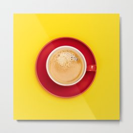 Red cup of coffee on yellow background, flat lay Metal Print