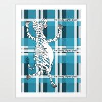 zebra Art Prints featuring Zebra  by mailboxdisco