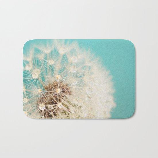 dandelion with waterdrops Bath Mat