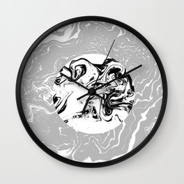 Marble circle minimal design suminagashi japanese marbling minimalist art grey black and white Wall Clock