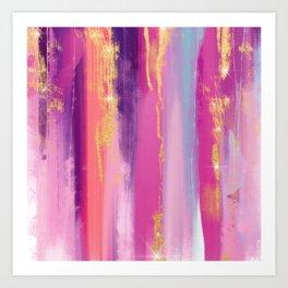 Watercolor strokes glitter Aquarelle coups de paillettes Aquarellstriche glitzern Brillo de trazos Art Print
