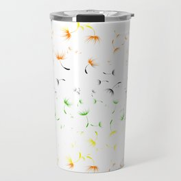 Dandelion Seeds Aromantic Pride (white background) Travel Mug