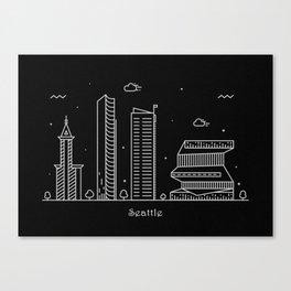 Seattle Minimal Nightscape / Skyline Drawing Canvas Print