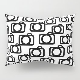 Photography Obsession, Camera Pattern Black and White Vector Pillow Sham