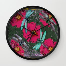 SHABBY CHIC BLUE DRAGONFLIES ON  FUCHSIA HOLLYHOCK FLOWERS Wall Clock