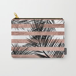 Trendy tropical palm trees chic rose gold stripes Carry-All Pouch
