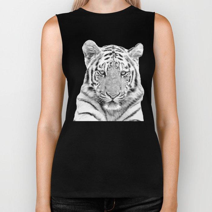 Black and white tiger Biker Tank