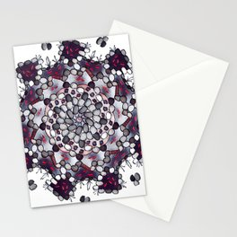 Koi Pond - Black, White, And Red Version Stationery Cards