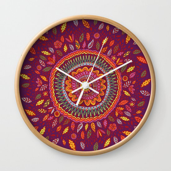 Leafy Fall Mandala Wall Clock by Janet Broxon
